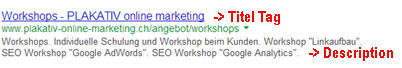 SEO Analyse: Titel und Description